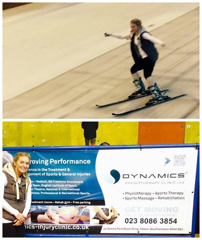 Amber Chafe skiing at Calshot Activity Centre