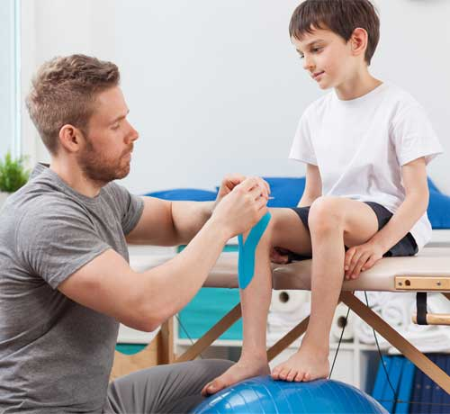 Child having physiotherapy